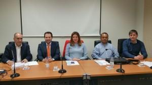 De izquierda a derecha: D.Daniel Gago, D.Miguel A.Alvarez, Dña.Letifcia de Rozas, D.Julio C.Trelles y D.Roberto de Rozas